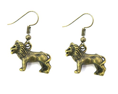 Löwen Ohrringe bronze-farben Modeschmuck Tier Ohrhänger