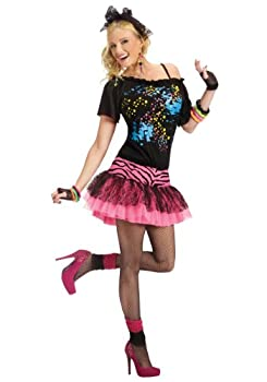 80s Pop Party Womens Costume Small/Medium Black/pink
