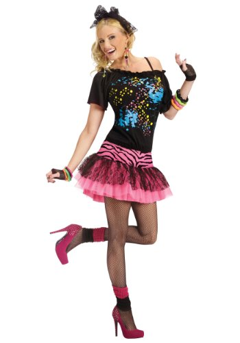 80s Pop Party Womens Pink Zebra Skirt and Top All In One Outfit
