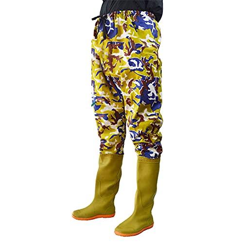 XBSXP Vadeadores de Cadera de Nailon y ndash;Vadeadores de Cadera de Camuflaje Impermeables para Hombres con Botas, Botas de Cadera de vadeo Ligeras para Pesca y Caza, 44