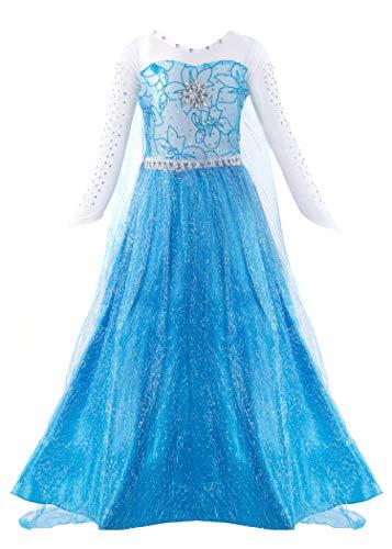 KABETY Mädchen Prinzessin Anna Kleid Schnee königin ELSA Kostüm Party Kleid,3 Jahre (Hersteller Größe:100) ,Blau