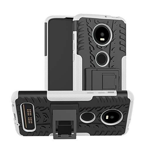 TiHen Handyhülle für Motorola Moto Z4 Play Hülle, 360 Grad Ganzkörper Schutzhülle + Panzerglas Schutzfolie 2 Stück Stoßfest zhülle Handys Tasche Bumper Hülle Cover Skin mit Ständer -Weiß