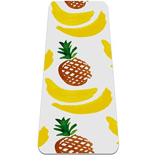 ZEH Alfombra de Yoga for niños, Estera de Yoga Plegable 6mmThick Mat de Ejercicios de Yoga Antideslizante for Viajes (72'x 24' x 6mm) piñas y plátanos FACAI