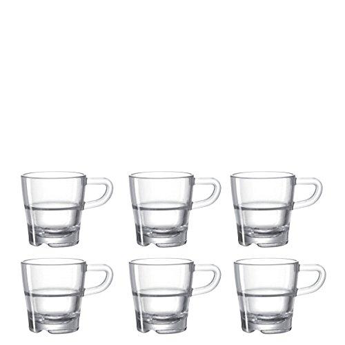 Leonardo Senso Espresso-Tasse, Espresso-Becher mit Henkel, spülmaschinengeeignete Espresso-Gläser, 6er Set, 70 ml, 024012