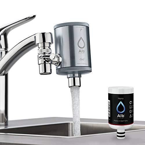 Alb Filter® Duo Nano Trinkwasserfilter | Armatur Anschluss | Gegen Mikrokeime wie E. coli, Legionellen uvm. | Set mit Gehäuse und Kartusche | Titan