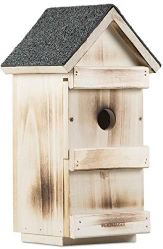 Windhager Vogelnistkasten 3-in-1, Vogelhaus Vogelhäuschen, mit auswechselbaren Frontplatten für verschiedene Vogelarten, braun, 06997