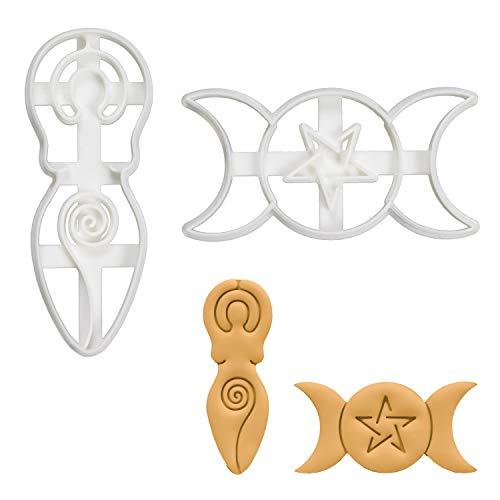 Set of 2 Goddess cookie cutters (Designs: Triple Goddess and Spiral Goddess), 2 pieces - Bakerlogy