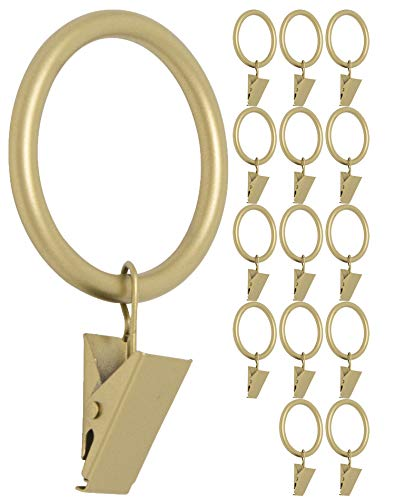 MERIVILLE Drapery Curtain Rings with Clip - 1.5-Inch Inner Diameter, Fits Up to 1 1/4-Inch Rod, Set of 14, Royal Gold Finish