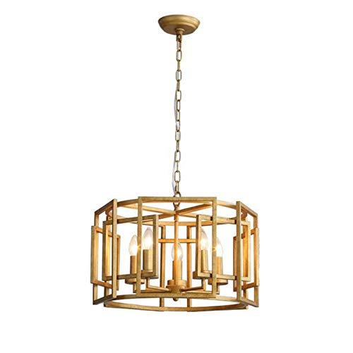 Planchar Lámpara Colgante Clásico Ajustable Iluminación Colgante Sala De Estar Cuarto Restaurante Lámparas-Vintage hace oro viejo 50 * 34cm