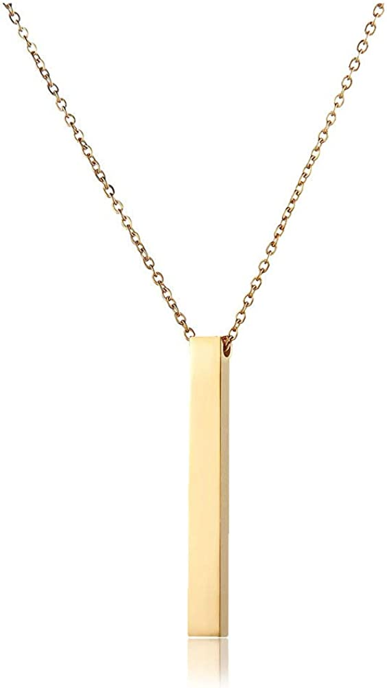 WangGao Simple Design Single Cube Pendant Cuboid 24 inches Chain Necklace Stainless Steel Neck Vertical Dangle Stick Plain Women Jewelry …