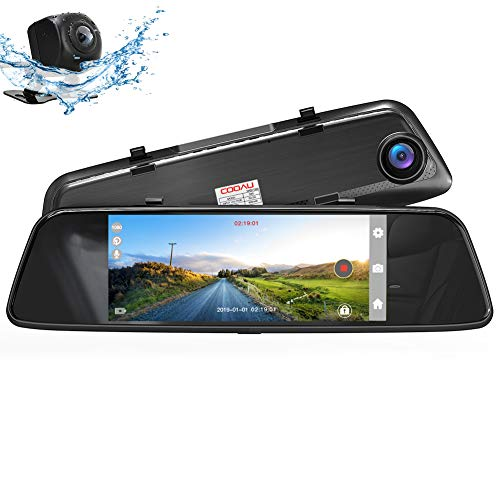 "COOAU Mirror Dual Night Vision Dash Cam, 7"" 1080P Full HD Touch Screen Front and Rear with Dual 170°Wide Angle, Parking Monitor, Motion Detection, G-Sensor, WDR, Loop Recording"