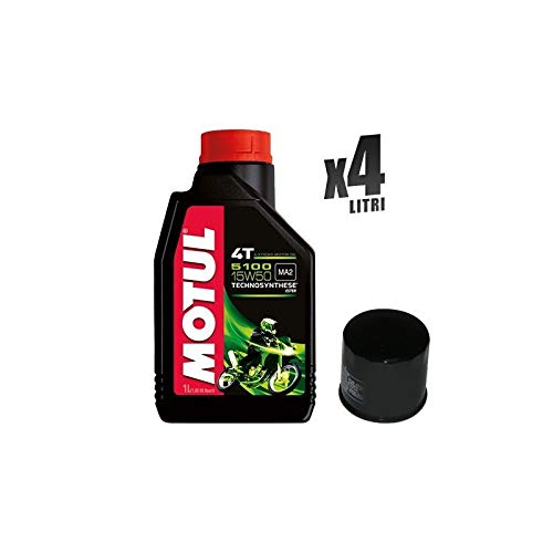 Motorcycle set 4 liter motorolie Motul 5100 15W50 + filter 138