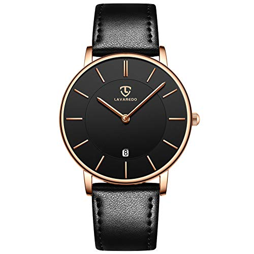 Reloj de Pulsera para Hombre, Ultra Fino, Informal, de Cuarzo, analógico, con Fecha, Resistente al Agua, para Hombres