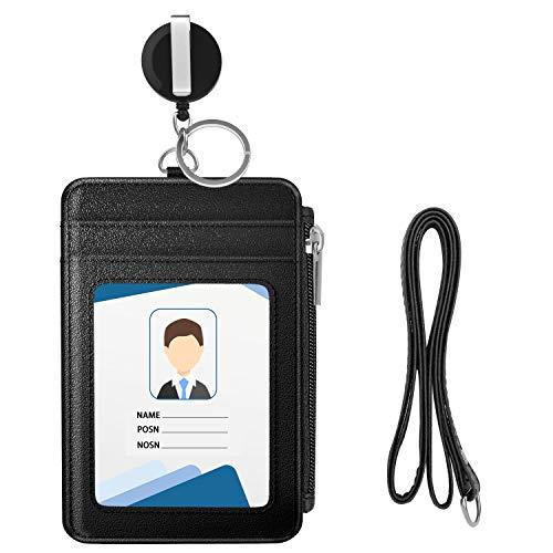 MoKo Porta Badge, Porta Carte in Premium PU Pelle con Slot per Schede e Zipper Portafoglio con Bobina Retrattile con la Cinghia del Collo per Carta di Ufficio ID e Scuola ID - Nero