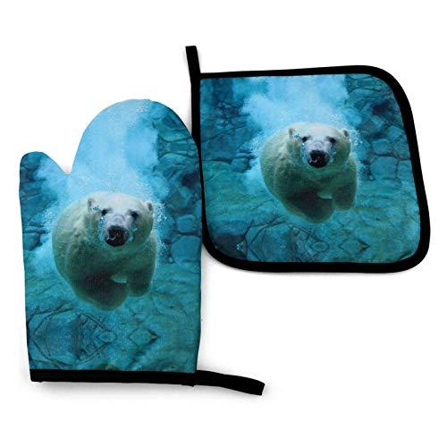 Juego de guantes y porta ollas para horno, osos polares, burbujas azules subacuáticas, guantes resistentes al calor y agarraderas, regalo de cocina para cocinar, hornear, asar a la parrilla, servir, b