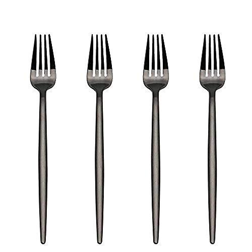 Fourchette à 4 entrées/hors-d'œuvre en acier inoxydable de 7 po / 18 cm en acier inoxydable (noir)