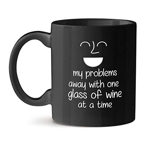 N\A Mis Problemas desaparecen con una Copa de Vino a la Vez Oficina té café Taza Negra