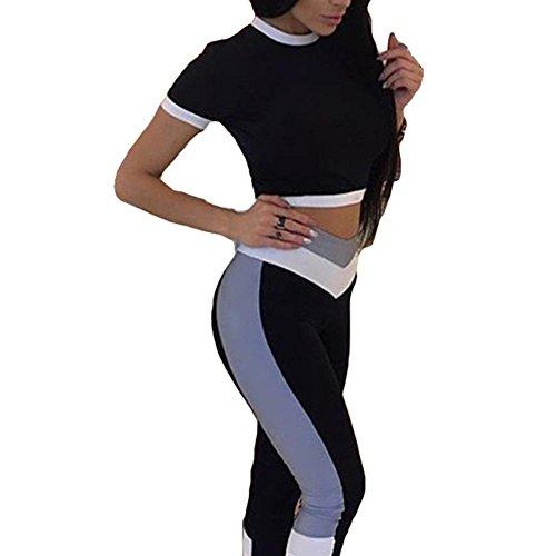 Meedot 2 Stück Damen Fitness Anzug Sport Yoga Gymnastik Trainingsanzug Kleidung Set Outfits Frauen Sportwear Kurzarmshirt Lang Hose Leggings Laufhose Weiß L