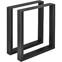 [en.casa] 2 x Conjunto de Patas de Mesa - Set de 2X Patas de Mesa - Metal - Patas de los Muebles - 60 x 72 cm - para Mesa de Comedor - Armazón de Mesa - con protección para Suelo - Negro