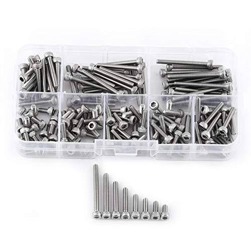 Tornillos, Fydun 160 piezas M3 SS304 Rosca métrica de acero inoxidable hexagonal Tornillos de cabeza Tornillos para electrodomésticos Hogar M3 6 8 10 12 16 20 25 30mm