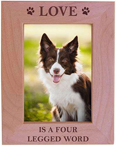 CustomGiftsNow Love is A Four Legged Word Alder Wood Picture Frame - Great Gift for a Dog Lover (4x6 Vertical)