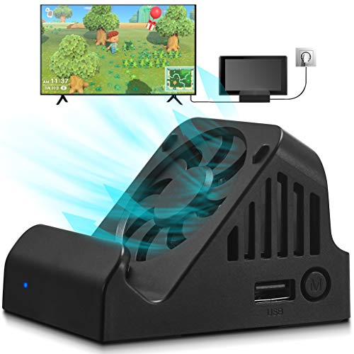 Switch Dock, TV Projection Charging Dock for Switch, Cooling Fan Compact 4K HDMI Adapter, Portable Switch Charging Stand, Switch Docking Station USB 3.0