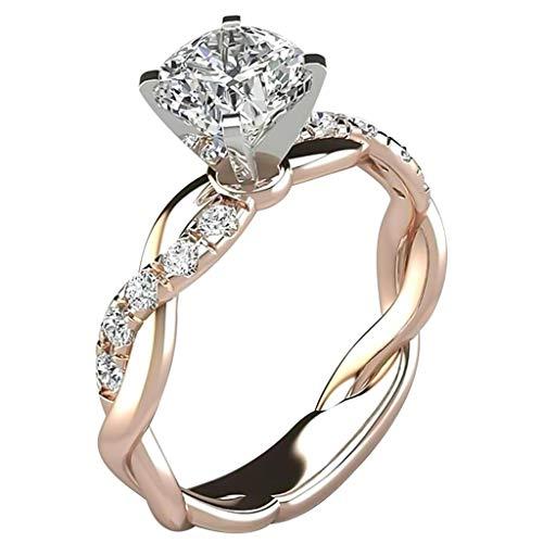 Janly - Anillo de plata para mujer, diseño de diamante con circonita