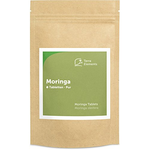 Terra Elements Bio Moringa Tabletten (500 mg, 240 St) I Reich an Vitamin A I 100% rein I Vegan I Rohkost