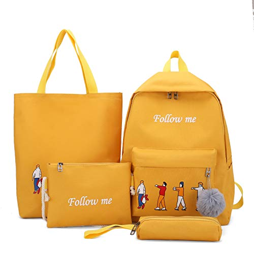 FDQNDXF Students Canvas Backpack Set, Portable Fashion Pencil Cases Casual Daypack 4-Piece Set Backpacks School Bags for Girls Womens Backpack,Yellow