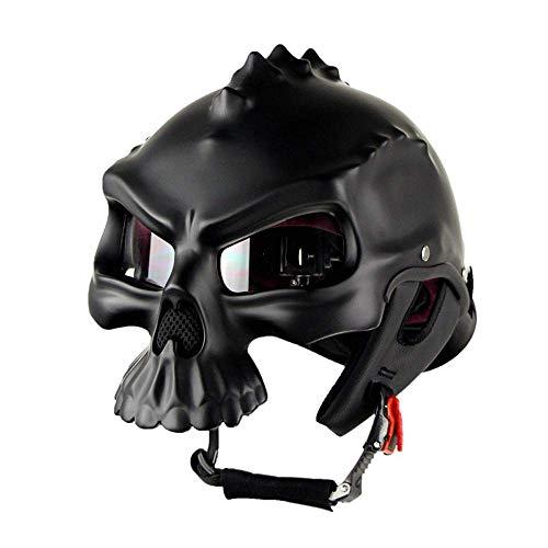 Yelmo Casco de la motocicleta del cráneo del casco abierto de la cara casco de la motocicleta Hombres Mujeres plástico ABS retro moto mitad de la cara compite con el casco (Color: Blanco-XL) Crash Hel