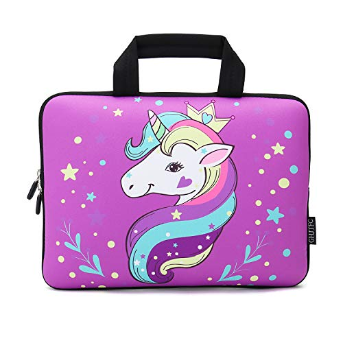 12 Inch Laptop Sleeve Carrying Bag Protective Case Neoprene Sleeve Tote Tablet Cover Notebook Briefcase Bag with Handle for Women Men(Unicorn,12')