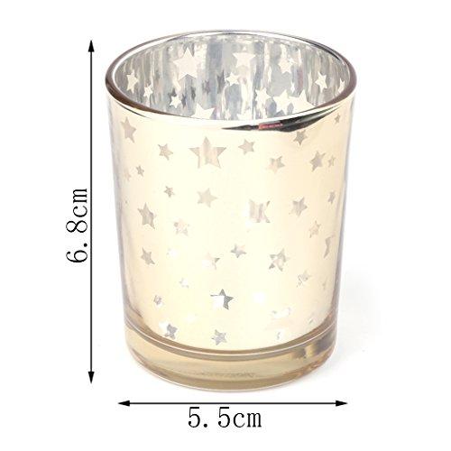 Yunso Photophores en verre, étoile Photophore mosaïque en verre votive Tasse pour Home Party Décoration de mariage