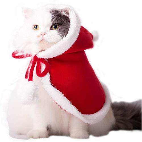 VIKEDI Katze Weihnachten Kostüm, Haustier Katze Weihnachten Santa Claus Mantel Kostüm mit Hut, Katzenkostüm Cape Warme Weihnachtskleidung,Party Holiday Dress Up Pet Bekleidung für Katzen Kleine Hunde