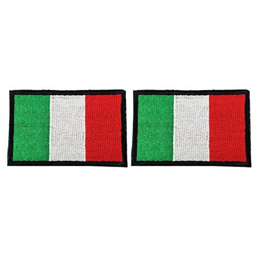Amosfun 2 Piezas Parche Bordado con Bandera Italiana Bandera Nacional de Italia Parche de Hierro Cosido para Ropa Chaqueta Jeans