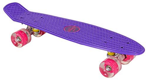 AMIGO Skateboard - Komplette Mini Cruiser - Skateboard für Anfänger, Kinder, Jugendliche und Erwachsene - mit Led Leuchtrollen und ABEC-7 Kugellager - 55 x 15 cm - Violett