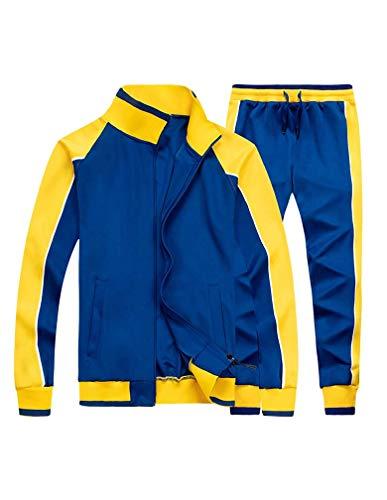 Tebreux Men's Tracksuits 2 Piece Outfit Jogging Suits Set Casual Long Sleeve Sports Sweatsuits Blue XL