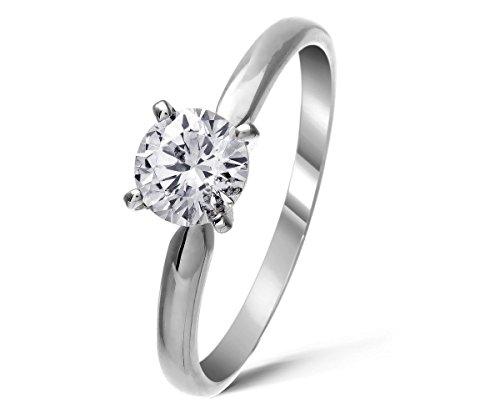 4 Krallen Diamant Ring 1 karat in Weissgold für Frauen-50 (15.9)