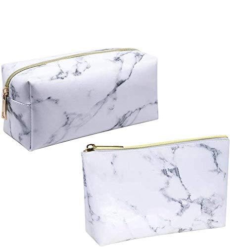 Marmer make-up tas draagbare cosmetische tas make-up zak toilettas borstel houder potlood case met gouden rits voor vrouwen en meisje (2 Pack)