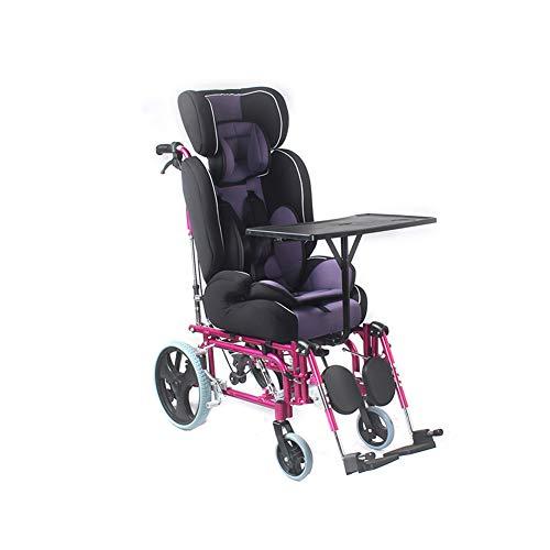 Dünner, Vollständig Zurückgelehnter Kinderstuhl, Zusammenklappbar Aluminiumlegierung Cerebralparese Rollstühle Mit Hohen Rückenlehne Und Esstisch Für Alter Von 2-12
