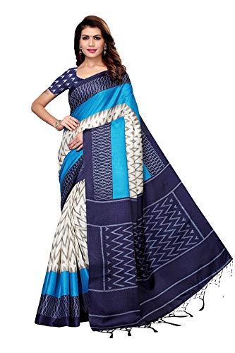 TreegoArt Fashion Sari de trabajo con estampado de seda Banarasi para mujer con blusa sin costuras Peace -(Insta Navy)