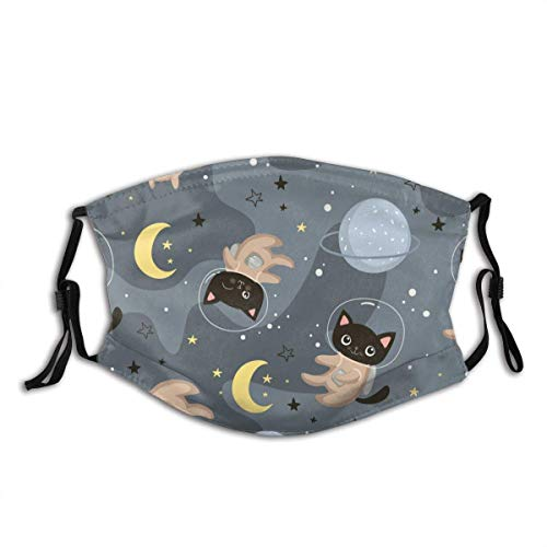 Face Cover Seamless Pattern with Cute Cats Astronauts in Helmets Balaclava Unisex Reusable Windproof Anti-Dust Mouth Bandanas Outdoor Camping Motorcycle Running Neck Gaiter with 2 Filters