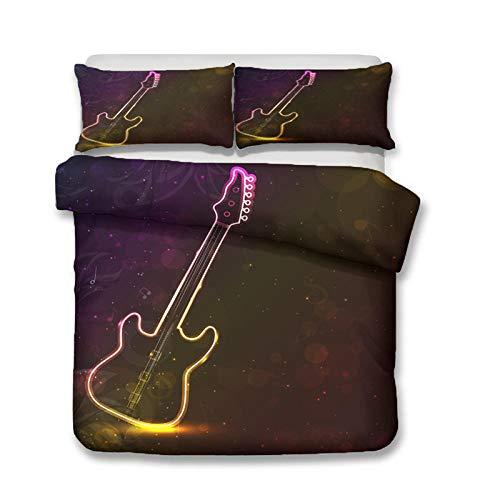 HGFHGD Farbiges Gitarrenmusik-Serie 3D Doppelbett Zubehör Set Junge Mädchen Groß King Size Schwarz Bettbezug Kissenbezug Dreiteiliges Set