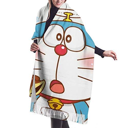 engdingxiansizhefuzhua Übergroße Doraemon Damen Quaste Schal Winter warme Mode Kaschmir elegante Decke für Frauen 7727in
