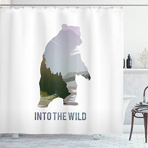 """Ambesonne Cabin Shower Curtain, Wild Animals of Canada Survival in The Wild Theme Hunting Camping Trip Hobby Outdoors, Cloth Fabric Bathroom Decor Set with Hooks, 70"""" Long, Olive Green"""