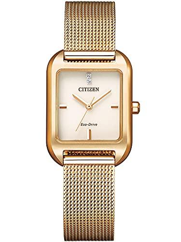 Citizen EM0493-85P Eco Drive - Reloj de pulsera para mujer (acero inoxidable, 3 bares), color rosa