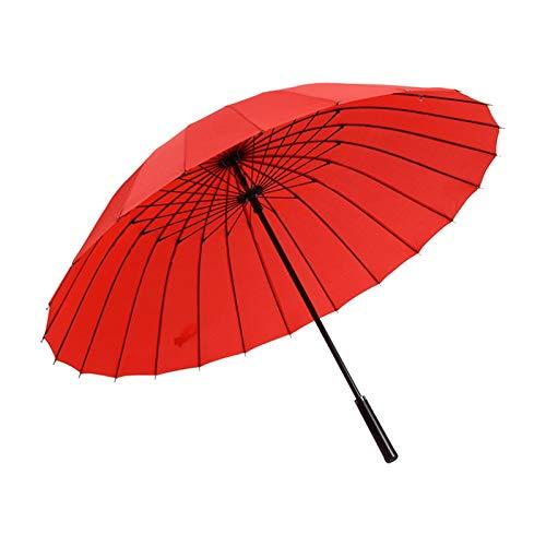 24k Golf de cuero de hombre grande Sol de golf colorido parasol hembra paraguas lluvia señora a prueba de viento paraguas masculino caña (Color : Red)