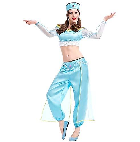 Jasmijn prinses kostuum - odalisque oosterse buikdansdanseres - moslim - arabier - vrouw - meisje - volwassenen - halloween blauw - one size - kerst verjaardag cadeau idee cosplay