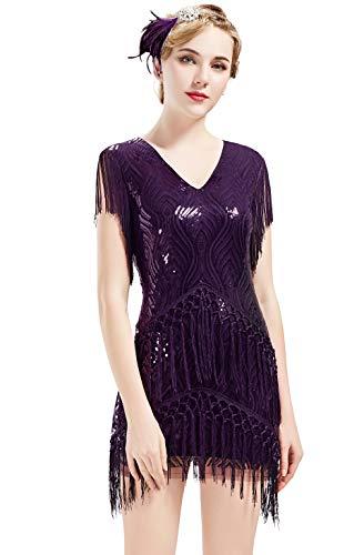 ArtiDeco 1920s Charleston Kleid Mini Damen Vintage Gatsby Kostüm Flapper 20er Jahre Cocktailkleid (Violett, XS)
