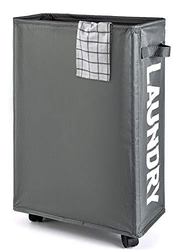 Lekesky Laundry Hamper with Wheels,Slim Laundry Basket,Waterproof Corner Hamper with Mesh Cover,Grey
