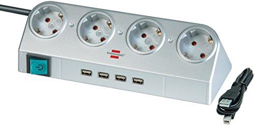 Stekkerdoos Desktop-Power 4-Wegs 1.80 m Zilver - Geaard